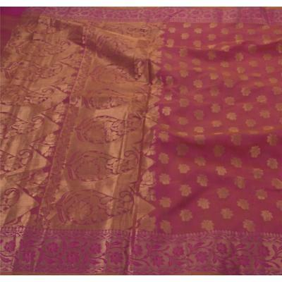 Sanskriti Vintage Saree Cotton Woven Craft Fabric Premium 5 Yard Cultural Sari