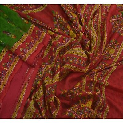 Sanskriti Vintage Green Saree 100% Pure Silk Printed 5 Yard Sari Craft Fabric