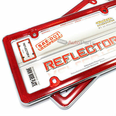 2 Red Reflector Chrome Plastic License Plate Tag Frames for Auto-Car-Truck