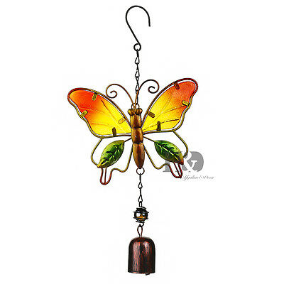 Metal&Crystal Butterfly Outdoor Garden Wind Chime Bell Hanging Pendant Kids Gift