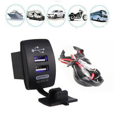 Waterproof 12-24V 3.1A Dual LED USB Car Auto Power Supply Charger Port Socket 1×