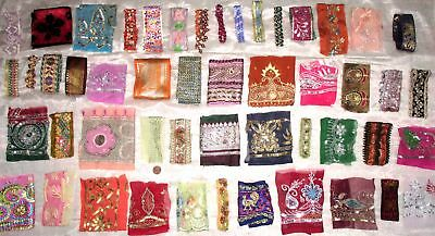 "BIG LOT Antique Vintage Sari TRIM RIBBON LACE 50 Pcs 4"" to 11"" CRAFT DOLL #ABG3K"