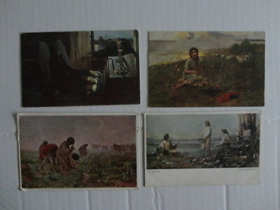 Poland  Painting 4 Old Postcards Lot 8