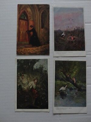 Poland  Painting 4 Old Postcards Lot 10