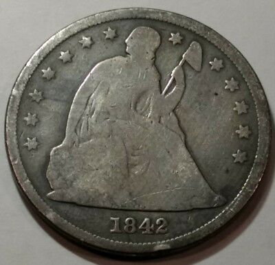 1842 strong GOOD Seated Liberty silver dollar.