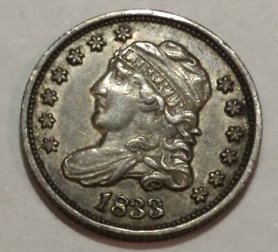 1833 Capped Bust silver US HALF DIME. XF-AU, with some luster.