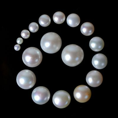Natural Cultured Fresh Water Pearl round flatback Half-drilled bead cabochon
