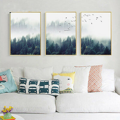 Nordic Style Mountain Foggy Forest Bird Canvas Painting Wall Bedroom Decor Top
