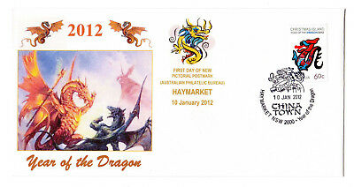 2012 Year of the Dragon Haymarket China Town pmk Souv FDC