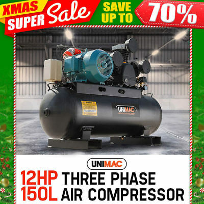 NEW UNIMAC Industrial Air Compressor 150L Receiver 3 Phase 415v Electric Motor