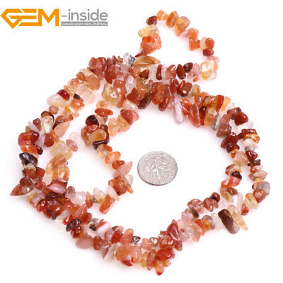 "5-8mm Freeform Natural Gemstone Red Cernelian Chips Beads Jewelry Making 34""  GI"