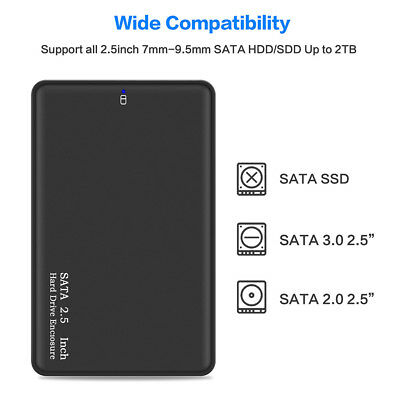 3.0 2TB 2.5 Inch Hard Disk Drive HDD Enclosure Storage Devices External Case