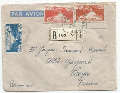 Lebanon Liban 50P+15P+25P Lettre Cover Rec Avion Beyrouth 1947 To France