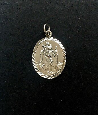 Vintage Sterling Silver Small ST Christopher Diamond Cut Oval Pendant