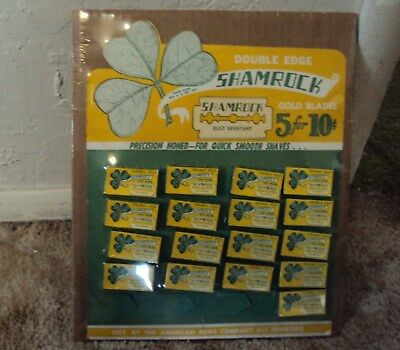 "Antique Store Display, Shamrock Razor Blades, with Blades 10"" x 12"" approx."