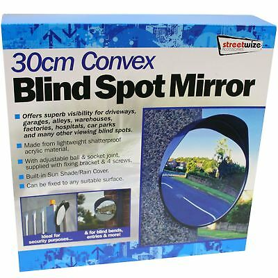 30cm Blind Spot Driveway Wide Angle Road Traffic Safety Security Convex Mirror