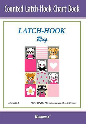 Counted Latch hook Chart - Pets On Pink - 90x134 holes  CHART ONLY