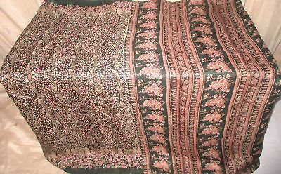 Cream Green Pure Silk 4 yard Vintage Sari Saree Multipurpose Material Hip #9EELR