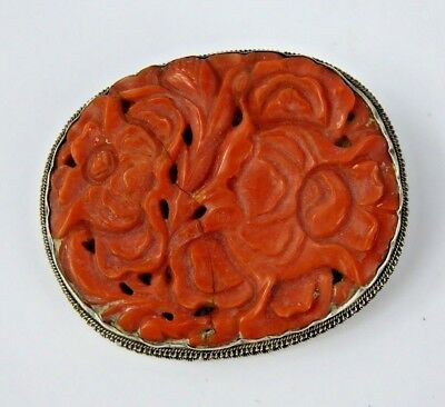 Chinese Antique Carved Red Coral & Silver Brooch Floral Design - Qing Jewellery