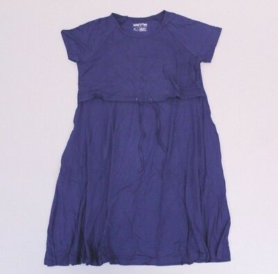 Latched Mama Women's Drawstring Nursing S/S T-Shirt Dress AB3 Navy Size XL