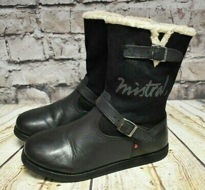 Girls Mistral Black Leather & Suede Wool Lined Zip Fastening Flat Boots UK 4