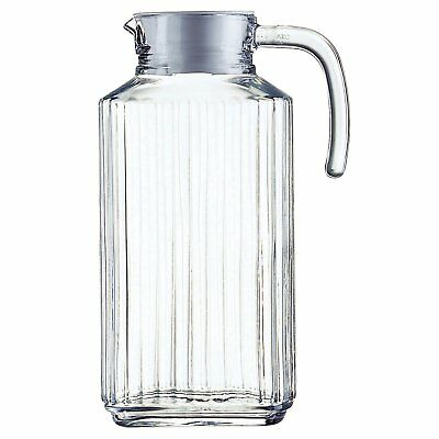 Luminarc Clear Glass Water Pitcher Quadro Fridge Jug with White Lid 1.7 litre