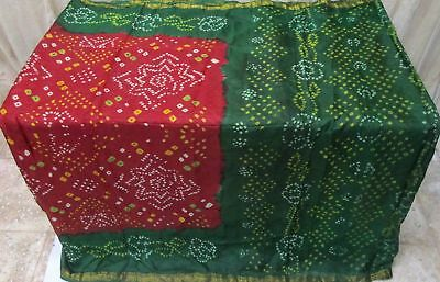 Green Maroon Pure Silk 4 yard Vintage Sari Saree HOT BARGAIN DEAL Sheets #9EEMU