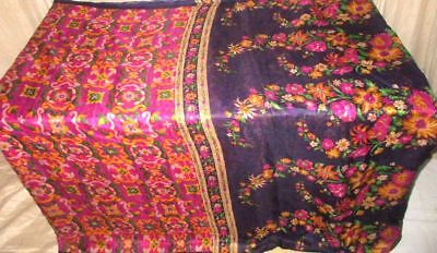 Magenta Navy Blue Pure Silk 4 yard Vintage Sari Saree Top Pick actress US #9EEN1