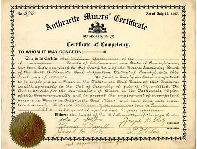 1909 Anthracite Coal Miner Certificate of Competency Lackawanna Pennsylvania