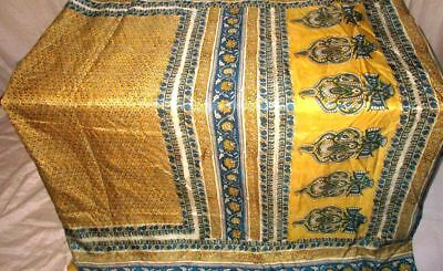 Golden Blue Pure Silk 4 yard Vintage Sari Hip new style dance practice UK #9EEN6