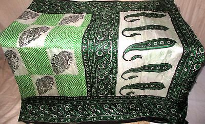 Green Black Pure Silk 4 yd Vintage Antique Sari Saree India refund policy #9EENN