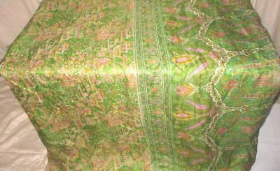 Pink Green Pure Silk 4 yard Vintage Sari Saree SALE DEAL BARGAIN history #9EENP