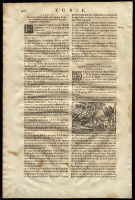 1581 Catholic Bible Leaf Book of Tobit  Woodcut Tobias and The Monstrous Fish
