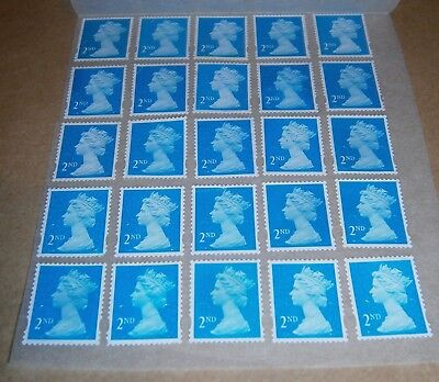 25 Unfranked 2nd Class Stamps Off Paper Remounted On Greaseproof - 11