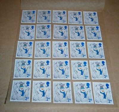 25 Unfranked 2nd Class Xmas Stamps Off Paper Remounted On Greaseproof - 5