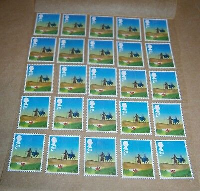 25 Unfranked 2nd Class Xmas Stamps Off Paper Remounted On Greaseproof - 4