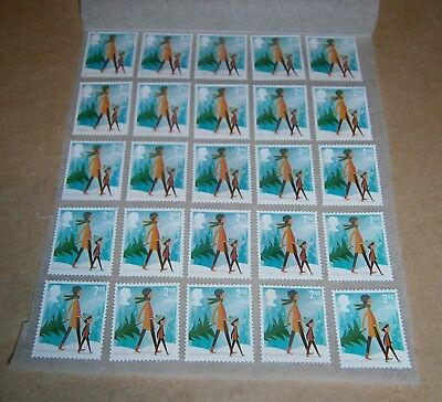 25 Unfranked 2nd Class Xmas Stamps Off Paper Remounted On Greaseproof - 3