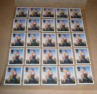 25 Unfranked 2nd Class Xmas Stamps Off Paper Remounted On Greaseproof - 2