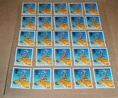 25 Unfranked 2nd Class Xmas Stamps Off Paper Remounted On Greaseproof - 1