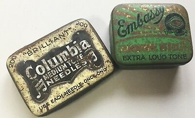 2 vintage needle tin boxes - Columbia & Embassy *[15155]