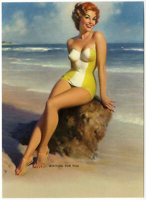Vintage 1950s Bill Medcalf Pin-Up Print Redheaded Bathing Beauty Waiting For You