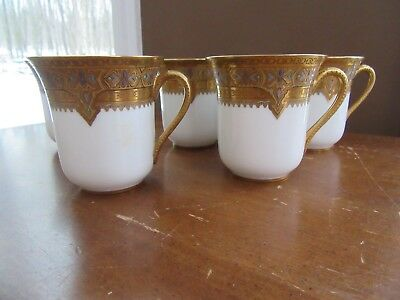 5 - Vintage Haviland Limoges Gold Encrusted Raised Enamel  CUP & SAUCER SETS