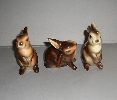 Goebels Brown Porcelain Rabbits Bunnies