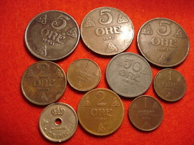 10 Norway Coins 1922 - 1943
