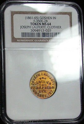 (1861-65) NGC MS64 IN F-350E-2B Toned Joseph Lauferty Clothier Store Card d1132