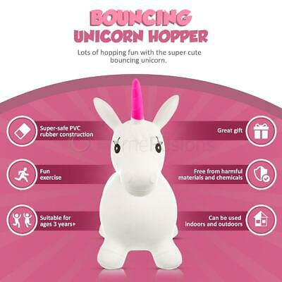 Inflatable Unicorn Hopper Kids Ride On Bouncer Bouncing Animal Toy Pink White
