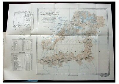 1924 Bailey and Meade - UNEXPLORED BHUTAN and SOUTHERN TIBET - COLOR MAP -10