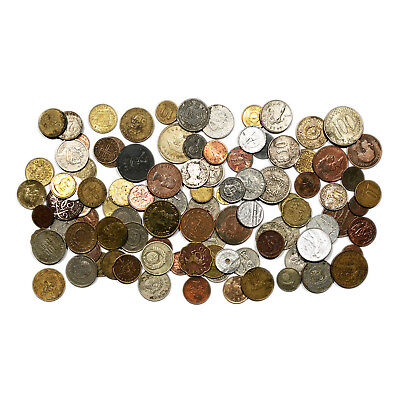 Lot of 100 mixed junk world coins stained, dirty, bent, worn out, etc.