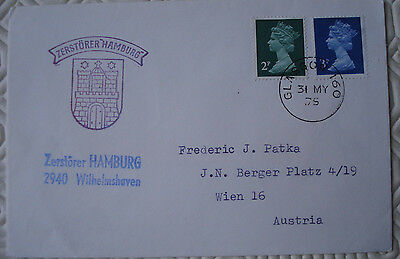 1975 GB Cover with special `Zerstorer Hamburg` handstamp postmark `Glasgow`