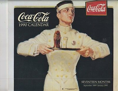 1990 Coca-Cola Calendar 17 Months September 1989 - January 1991